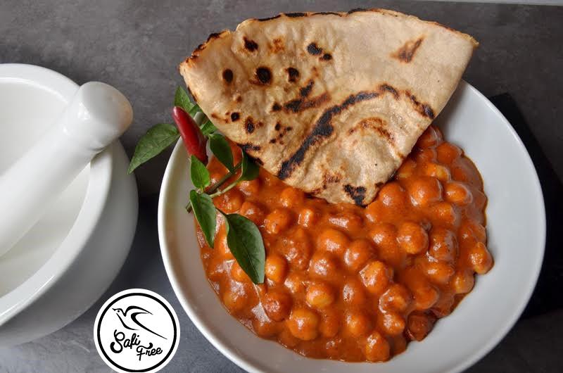 Indisches Chana-Masala mit Tortilla (eifrei, fleischfrei, glutenfrei, milchfrei, sojafrei, vegan)