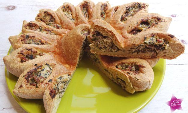 Brot gefüllt mit Spinat und Topfen aus Eiklar (glutenfrei, hefefrei, milchfrei, sojafrei, Paleo)