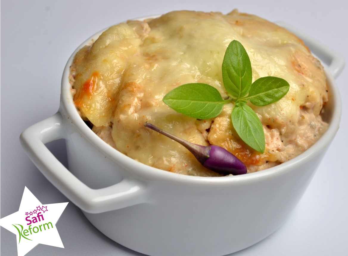Hähnchenbrust in Käse-Rahm-Sauce (eifrei, frei von künstlichen Aromen, glutenfrei, maisfrei, milchfrei, ohne Zuckerzusatz, sojafrei, Paleo)