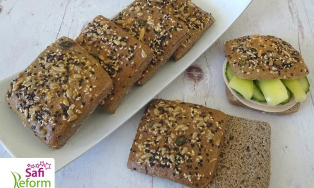 Sandwichkissen mit Chia Samen (glutenfrei, hefefrei, kohlenhydratreduziert, milchfrei, sojafrei, Paleo)