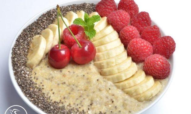 Frühstücksbrei mit Chia (glutenfrei, milchfrei, ohne Zuckerzusatz, sojafrei, vegan)