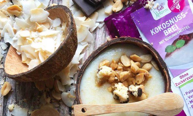 Schokopudding, Creme mit Grießbrei- und Bounty-Geschmack (eifrei, glutenfrei, kohlenhydratreduziert, milchfrei, vegan, Paleo)