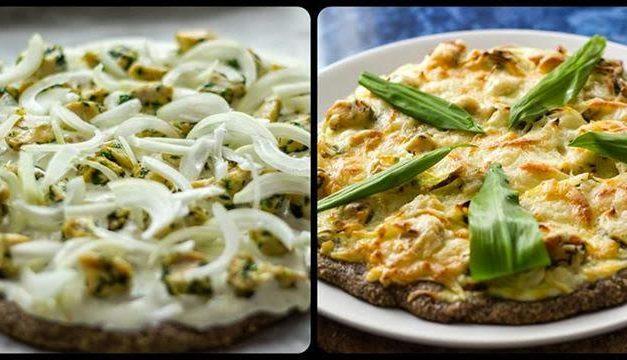 Bärlauch-Pizza mit Leinsamenmehl (glutenfrei, hefefrei, milchfrei)