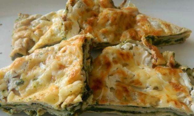 Gebackener Pfannkuchen mit Spinat (glutenfrei, milchfrei)