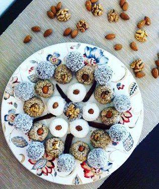 Dessertkugeln: Apfel- / Topfen- / Leinsamen-Bananen-Kugeln (glutenfrei, milchfrei)