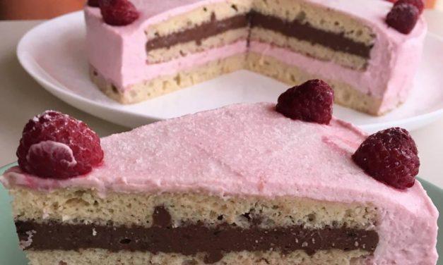 Himbeermousse-Schokocreme-Torte (glutenfrei, kohlenhydratreduziert, ohne Zuckerzusatz, sojafrei)