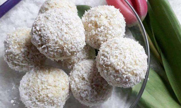 Dessertkugeln mit Raffaello-Geschmack (glutenfrei, milchfrei, ohne Zuckerzusatz, sojafrei, vegan)