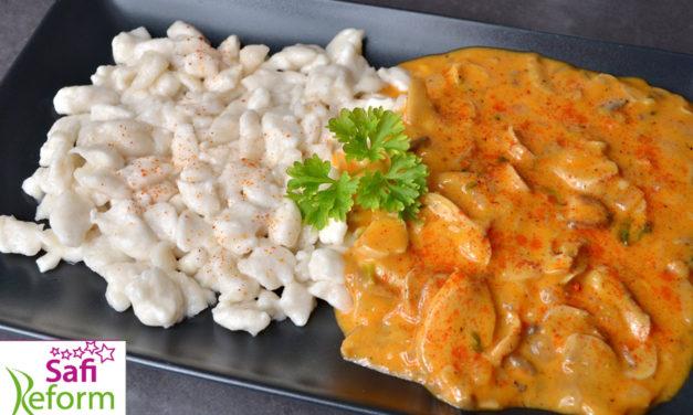 Spätzle & ungarisches Pilzpaprikasch (eifrei, fleischfrei, glutenfrei, milchfrei, vegan, Paleo light)