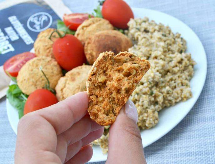 Zucchini-Laibchen mit Protein-Haferschrot (eifrei, fettarm, glutenfrei, milchfrei, vegan)