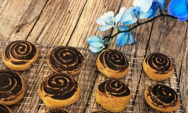 Kakaoschnecken mit Hefe (glutenfrei, kohlenhydratfrei, milchfrei, ohne Zuckerzusatz, sojafrei, Paleo)