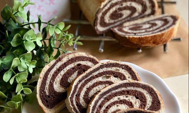 Gestreifter Kuchen / gestreifte Schnecke (eifrei, fettarm, glutenfrei, kohlenhydratreduziert, milchfrei, vegan)