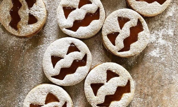 Halloween Kekse / Kürbis-Linzer-Augen (glutenfrei, milchfrei, ohne Zuckerzusatz, sojafrei, Paleo)