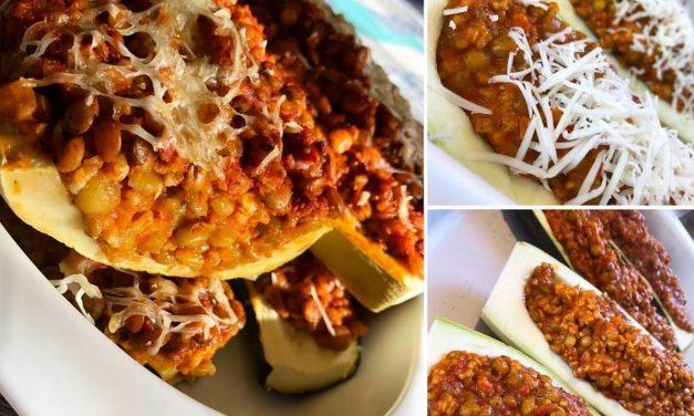 Zucchini und Kürbis gefüllt mit Haferschrot-Linsenragout (eifrei, glutenfrei, milchfrei, sojafrei, vegan)