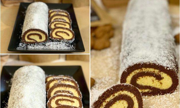Glutenfreie Vanillecreme-Kokos-Biskuitrolle